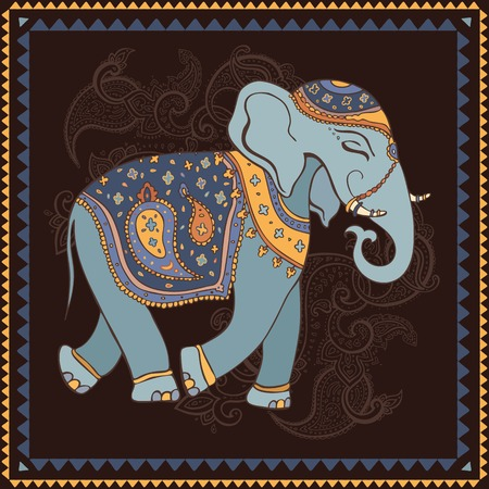 Hand Drawn Vector illustration. Elephant. Indian style. Vector