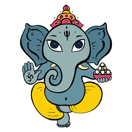 Hindu God Ganesha. Vector hand drawn illustration. Vector