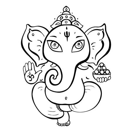 Hindu God Ganesha. Vector hand drawn illustration.