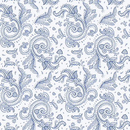 Seamless Paisley background. Elegant Hand Drawn vector pattern. Vector