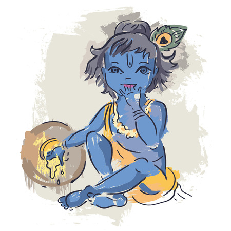 krishna: Dieu hindou Krishna. Vector illustration tirée par la main. Illustration