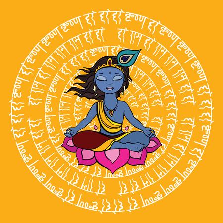 Hindu God Krishna hand drawn illustration