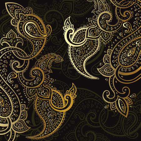 black lace: Paisley background. Hand Drawn ornament. Vector illustration.