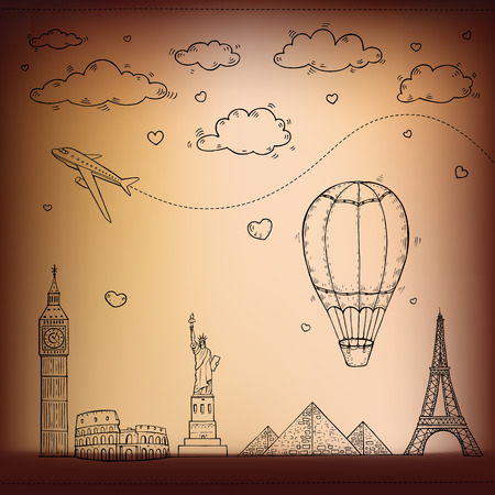 Travel and tourism background. Vector hand drawn illustration. Vector
