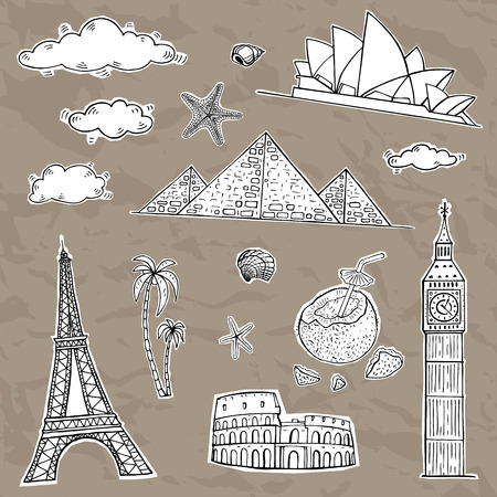 crumbled: Travel and tourism labels collection. Vector hand drawn illustration.