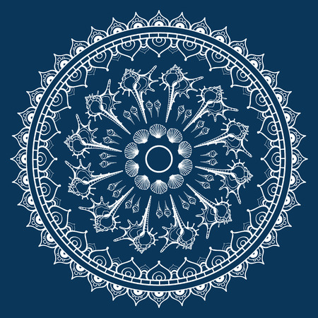 Mandala made of Seashells background. Vector