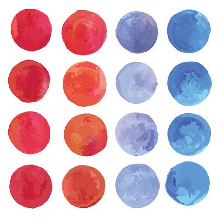 Watercolor circles set  Vector