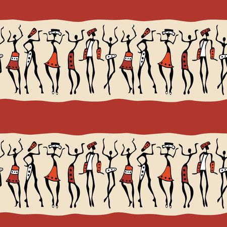 indigenous culture: Figures of african dancers . Seamless Vector  Illustration.