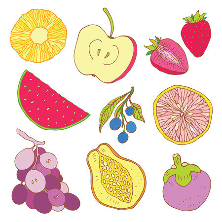 ripened: Fruits collection. Set of tropical fruit. Illustration