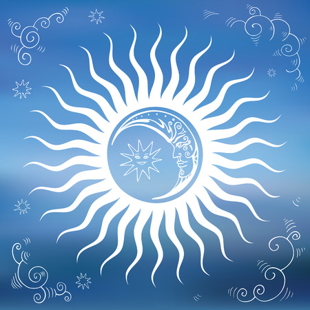Hemel, zon, maan, wolken, sterren. Vintage Hand getrokken vector illustratie. Design element.