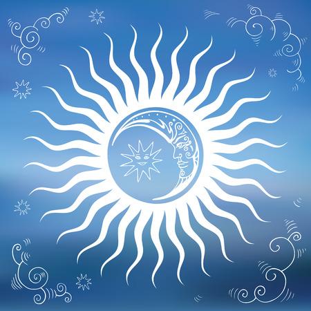sonne mond: Himmel, Sonne, Mond, Wolken, Sterne. Weinlese Hand gezeichnete Vektor-Illustration. Design-Element.