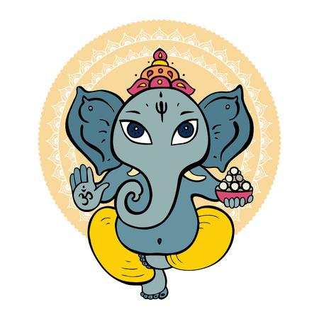 hindu god: Dios hind� Ganesha. Vector dibujado a mano ilustraci�n. Vectores