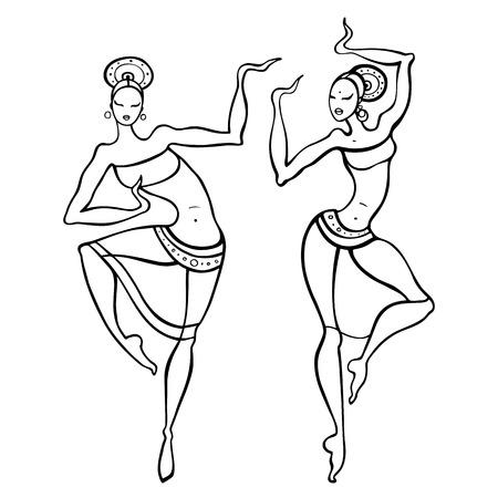 danza africana: Hermosa bailarina asiática. Danza Etno. Dibujado a mano ilustración vectorial.