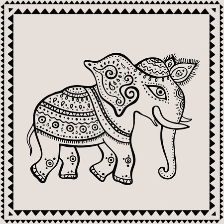 Ethnic elephant. Hand drawn vector  illustration. Indian style. Vector