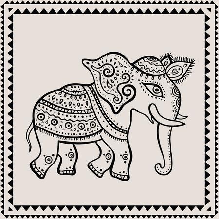 indian elephant: Ethnic elephant. Hand drawn vector  illustration. Indian style. Illustration