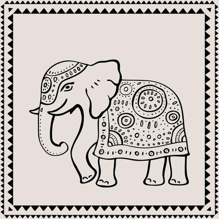 siluetas de elefantes: Elefante étnico. Dibujado a mano ilustración vectorial. Estilo indio.