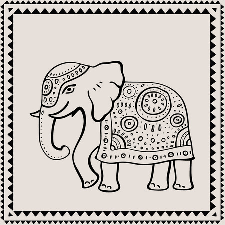 east indian: Ethnic elephant. Hand drawn vector  illustration. Indian style. Illustration