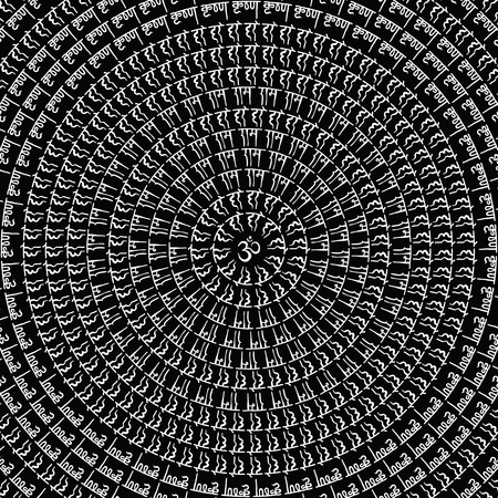 sanskrit: Mandala. Indian decorative pattern. Hand Drawn Vector background. Illustration