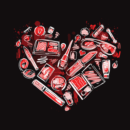 Heart of Makeup products set. Cosmetics. Hand drawn Vector Illustration. Vector