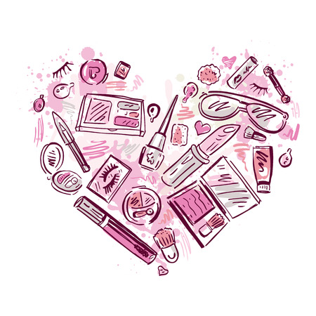 Heart of Makeup products set. Cosmetics. Hand drawn Vector Illustration.