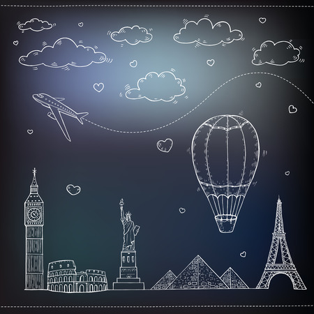 air travel: Travel and tourism background. Vector hand drawn illustration.