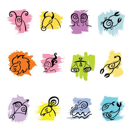 Horoscope Zodiac Star signs, vector set. Hand drawn illustration.