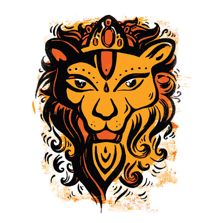 Lion head  Ethnic pattern  Vector
