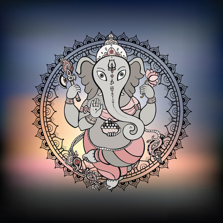 Ganesha Hand drawn illustration  Vector
