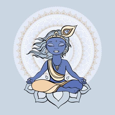 hindu god: Dios hind� Krishna Vectores