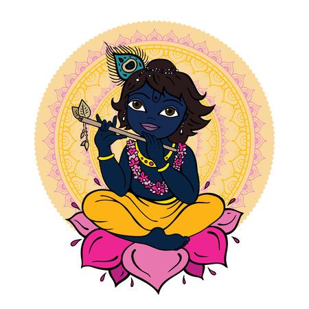 mano de dios: Dios hind� Krishna Vectores
