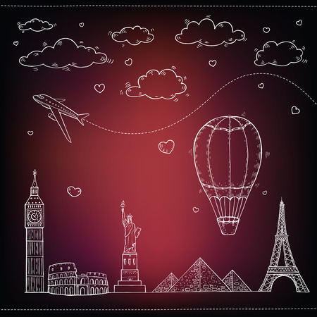 Travel and tourism background  Vectores