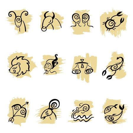 Horoscope  Zodiac  set  Ilustrace