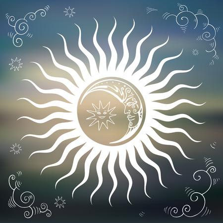 illustrazione sole: Vintage cielo, sole, luna, nuvole, stelle