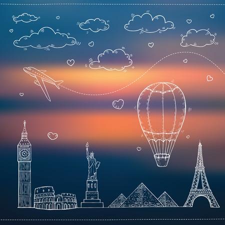Travel and tourism background  Illustration