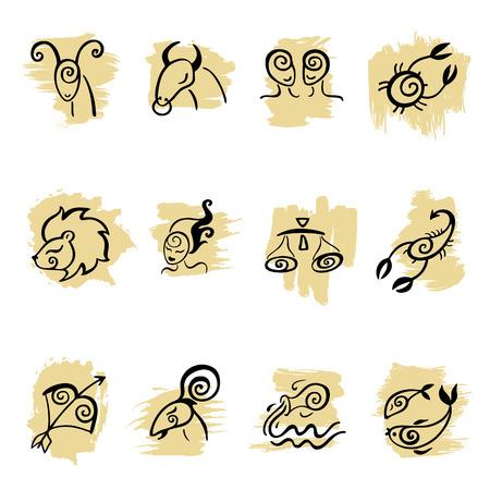 Horoscope  Zodiac  set  Illustration