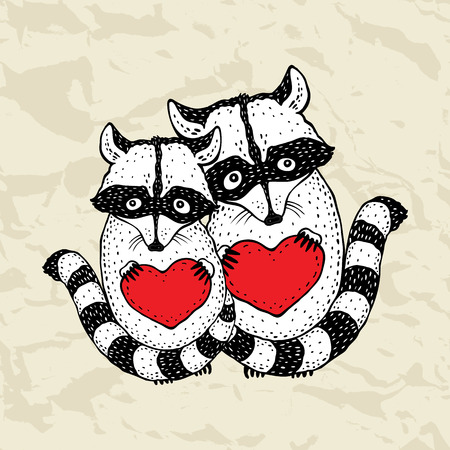 Raccoon carrying a heart  Vector