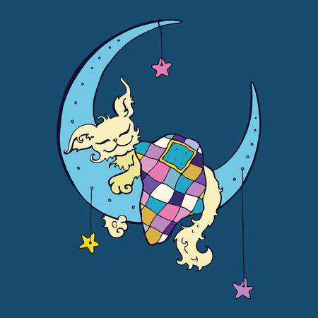 sleeps: Cute dog sleeps on the Moon