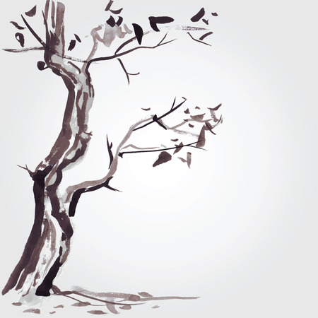 sumi e: Old tree in Chinese style