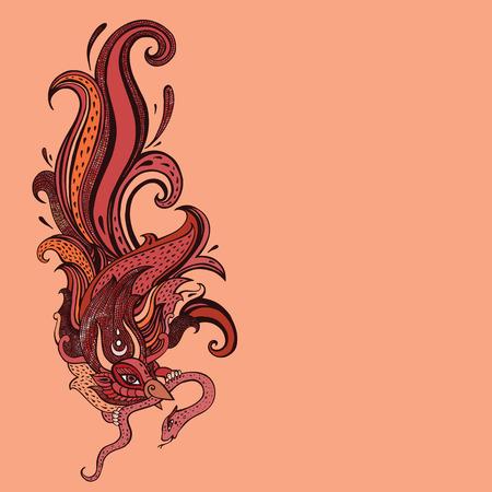 orange snake: Garuda   Hand drawn illustration