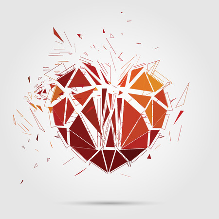 Abstract broken heart  3d Vector illustration  Vector