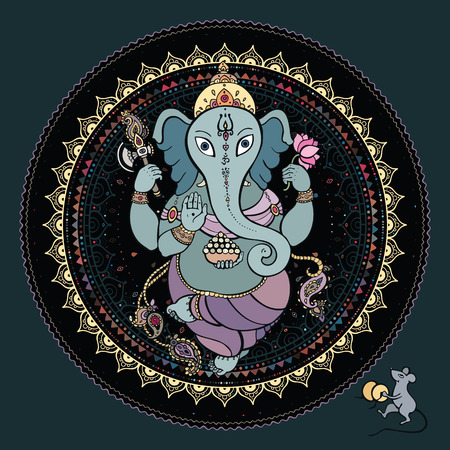 black gods: Ganesha Hand drawn illustration