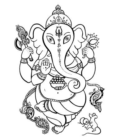 Ganesha Hand drawn illustration  Vector