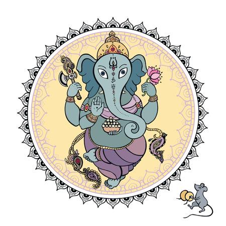 Señor Ganesha Ilustración dibujado a mano Vectores