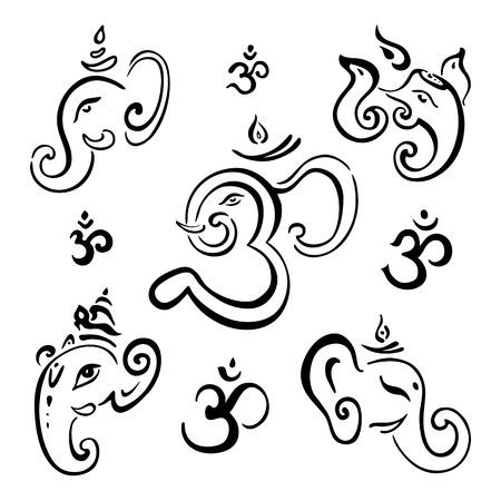 Ganesha Ilustración dibujado a mano Vectores