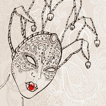 Hand Drawn Venetian carnival mask. Vector