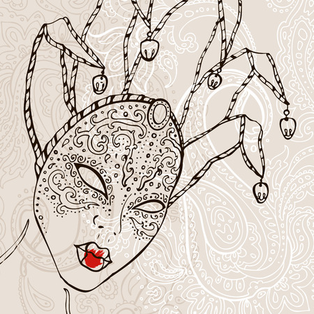 venecian: Hand Drawn Venetian carnival mask. Illustration