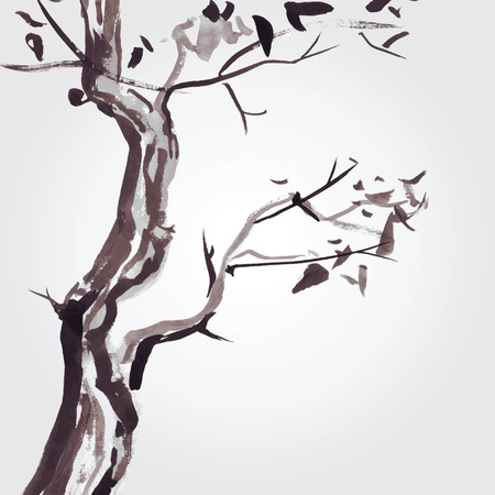 sumi e: Old tree in Chinese style. Illustration