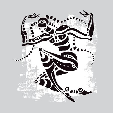 rastas: Bailarín africano. Étnico ilustración