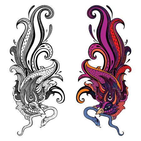orange snake: Garuda.  Hand drawn illustration.