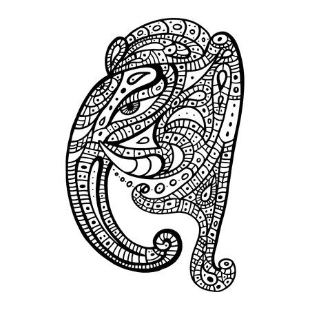 Elephant head.. Ganesha Hand drawn illustration. Vector